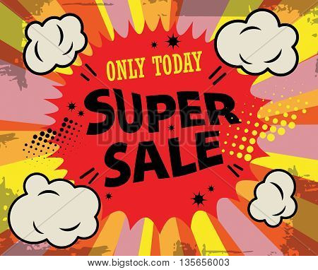 Abstract Super sale label or poster, vector illustration