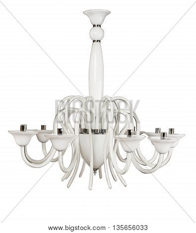 Luxury white chandelier isolated on white background