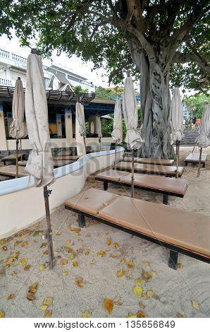 closed umbrella beach in hotel at Thailand