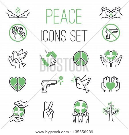 Peace icons outline mono vector symbols. World hope peace icons heart design dove set. International global silhouette peace icons. Freedom care and war free protect lifestyle concept.