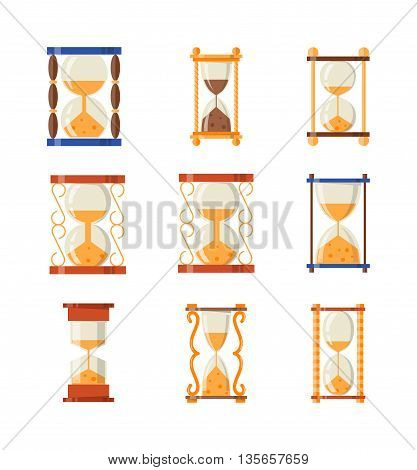 Transparent sandglass icons set, time hourglass, sand clock flat design history second old object. Vector illustration sand clocks hourglass timer hour minute watch countdown flow measure.
