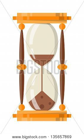 Transparent sandglass icon, time hourglass, sand clock flat design history second old object. Vector illustration sand clocks hourglass timer hour minute watch countdown flow measure.