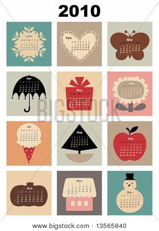 Vector Illustration of colorful style design Calendar for 2010