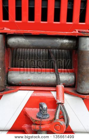 Hoist With Steel Wire Installed On A Big Fire Truck