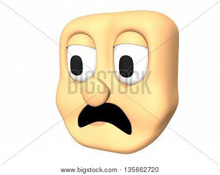 Funny 3D sad head icon of cartoon character. 3D illustration.