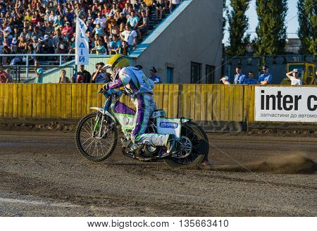Rivne Ukraine - 29 August 2015: Unknown rider prepares for the start at the Open Cup Speedway to the day of the city Rivne