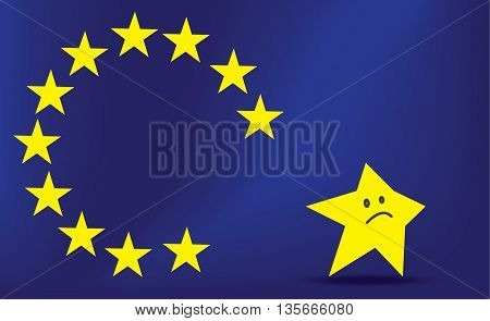 EU flag without one star. Brexit. Collapse EU.