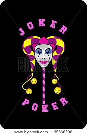 vector illustration of joker mask on a black background playing card