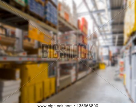 Diy store warehouse interior out of focus.
