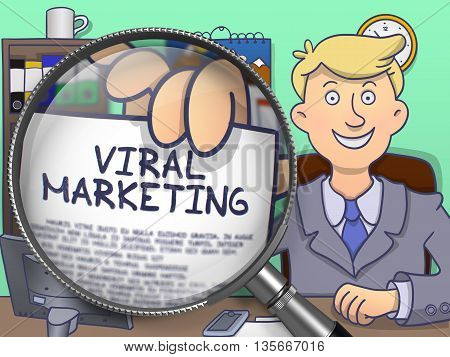 Viral Marketing on Paper in Man's Hand to Illustrate a Business Concept. Closeup View through Magnifying Glass. Multicolor Doodle Illustration.