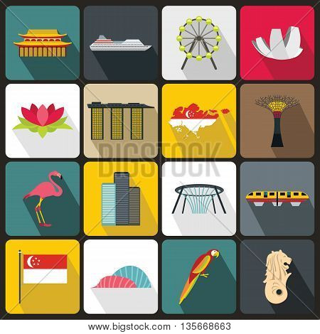 Singapore icons set in flat style for any design