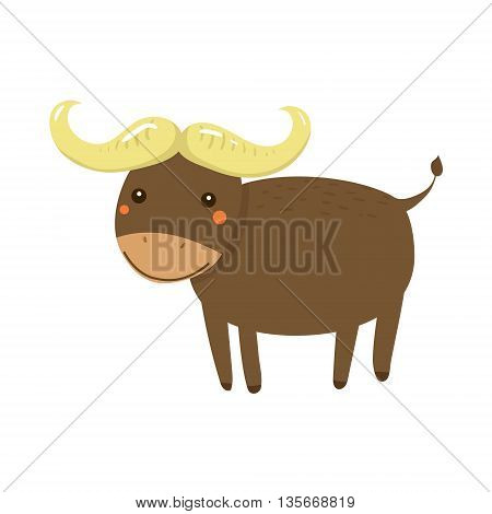 Buffalo Realistic Childish Illustration In Simple Cute Vector Design Isolated On White Background