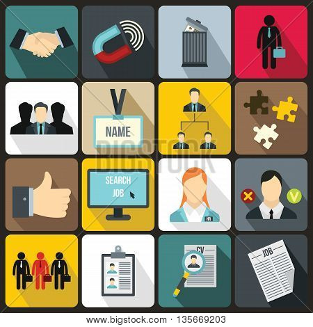 Human resource management icons set in flat style for any design