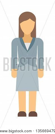 Vector business woman silhouette forward full length over white background. Business woman silhouette vector and design work business woman silhouette figure pose success.