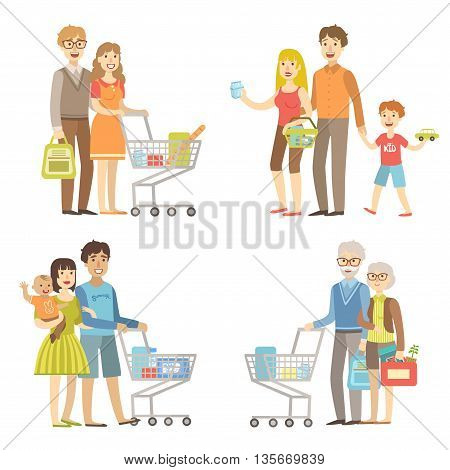 Families Grocery Shopping Together Simplified Cartoon Style Flat Vector Colorful Illustrations On White Background