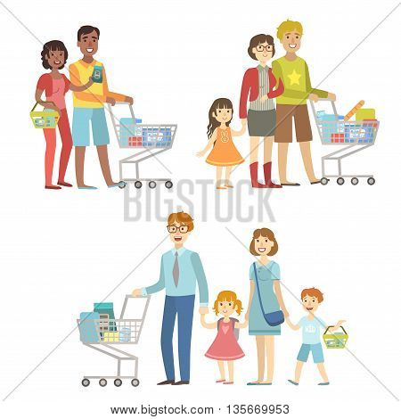 Families With Shopping Carts In Supermarket Simplified Cartoon Style Flat Vector Colorful Illustrations On White Background