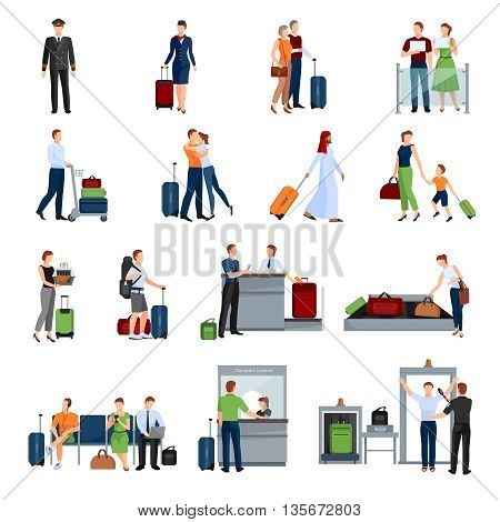 People in airport flat color icons set of pilot stewardess tourists with travel bags at checkpoint and security screening isolated vector illustration