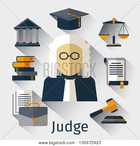 Judge flat icon. Judge and justice vector symbols. Law legal, gavel justice, judge man, juridical balance illustration