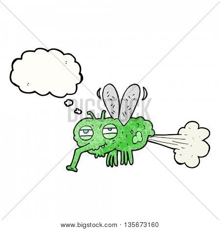freehand drawn thought bubble textured cartoon gross farting fly
