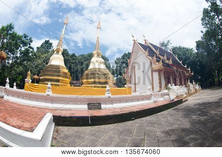 CHIANGRAI,THAILAND-AUGUST 31,2015 : Wat Phra That Doi Tung. this temple has a stupa reputed to contain the Buddha's collarbone, Located atop Doi Tung itself at an altitude of nearly 2000 meters.Chiangrai Province,Northern of Thailand.