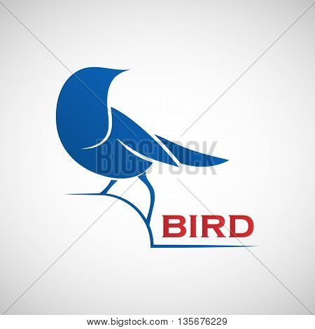 Abstract blue bird logo template. Vector illustration of sparrow as a symbol of creativity joy friendliness and community for your design