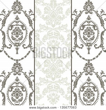 Vector damask ornament pattern set. Molding Border and stripes. Elegant luxury texture for textile fabrics or backgrounds.