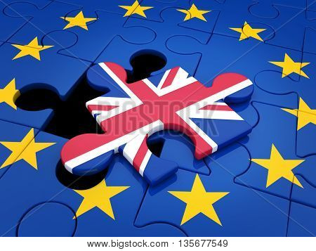 Abstract disintegration Euro union and Britain (done in 3d rendering)