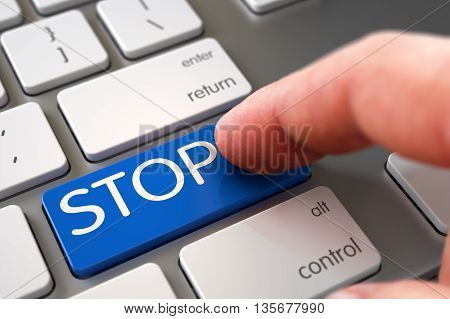 Aluminum Keyboard with STOP Blue Keypad. STOP Concept. STOP Concept - Aluminum Keyboard with STOP Keypad. Hand of Young Man on STOP Blue Button. Hand Touching STOP Button. 3D.