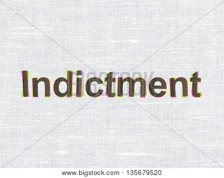 Law concept: CMYK Indictment on linen fabric texture background