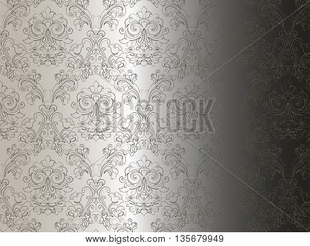 Floral ornament damask pattern. Elegant luxury texture for backgrounds and invitation cards. Gradient background. Vector