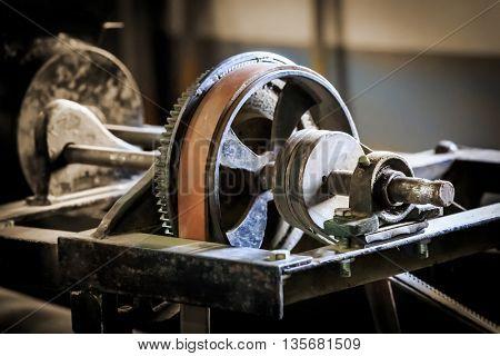 abstract vintage old belt drive mechanism