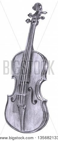 A black and white pencil drawing of a vintage violin on a white background