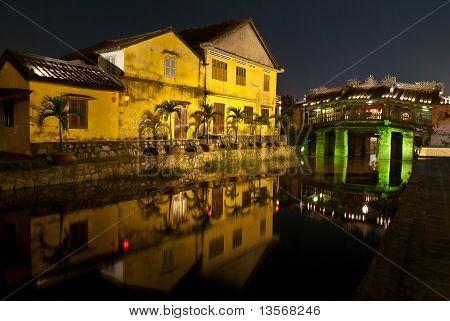 Mirroring Of Japanese Covered Bridge By Night, Hoi An, Vietnam