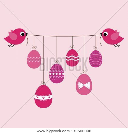 birds and Easter Egg background