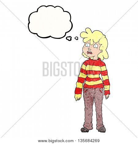freehand drawn thought bubble textured cartoon teenager