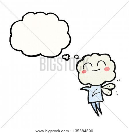 freehand drawn thought bubble textured cartoon cute cloud head imp