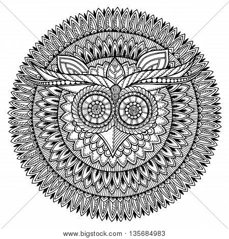 Birds theme. Owl black and white mandala with abstract ethnic aztec ornament pattern. Owl background. Owl tattoo. Page for coloring book with owl mandala. Zentangle style. Stylized Owl.