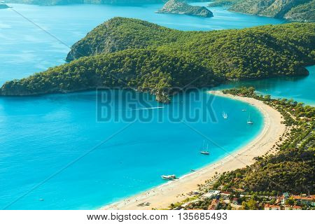 oludeniz lagoon in sea landscape view of beach Turkey