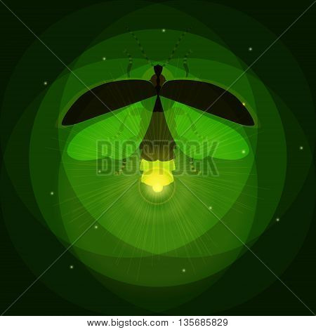 Firefly bug logo design template. Luminous firefly. Overlay effect. Flying bug glowworm. Lightning bug with its wings open. Isolated vector illustration.