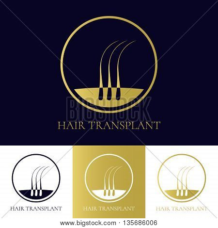 Hair transplant logo template with three hair bulbs in a circle. Hair loss treatment concept. Hair medical diagnostics label. Hair follicle icon. Hair bulb symbol. Vector illustration.