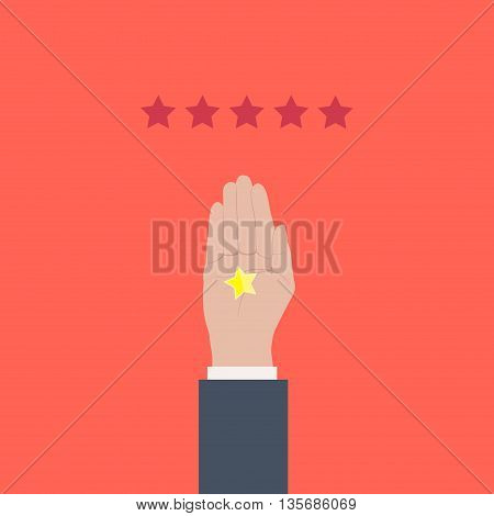 Customer review design template. Bad rating evaluation vector symbol. Five star business icon. Male hand showing one star. Negative review. Like, approval, feedback sign. Reviews and feedback concept.