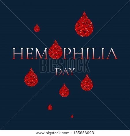 World Hemophilia Day. Vector illustration of blood drops made of dots on blue background. Blood drop symbol. Hemophilia sign. Hemophilia awareness symbol. Stop hemophilia.