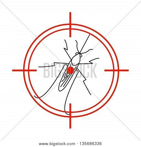 Aedes Aegypti mosquito on red target. No mosquito sign. Mosquito warning. Prohibition sign with a pest. Insect repellent emblem. Zika virus transmission. Vector illustration for your design.