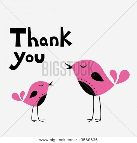 simple thank you card with bird poster