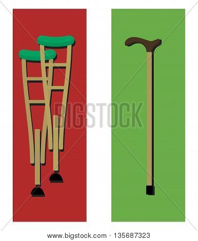 crutches and a cane. Illustration in a flat design.