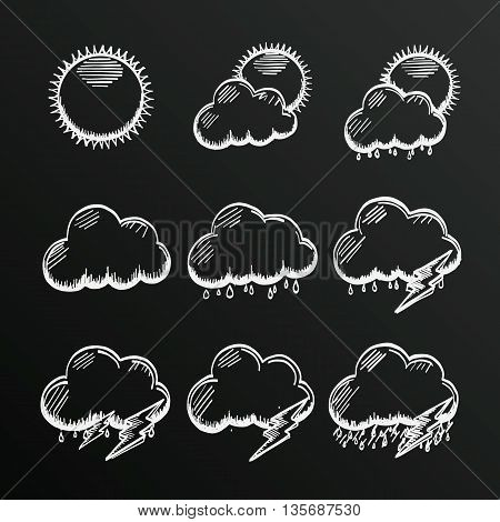 Chalkboard collection clouds icon, sketch cloud and sun, weather phenomenon, template design element