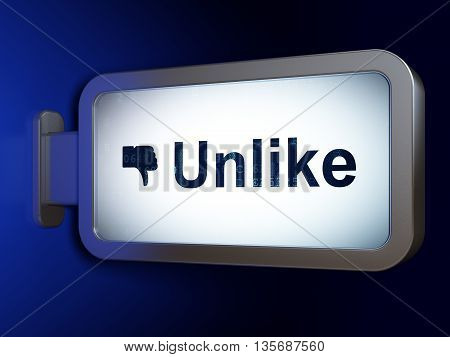 Social media concept: Unlike and Thumb Down on advertising billboard background, 3D rendering