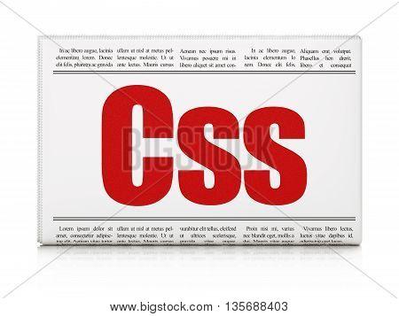 Database concept: newspaper headline Css on White background, 3D rendering