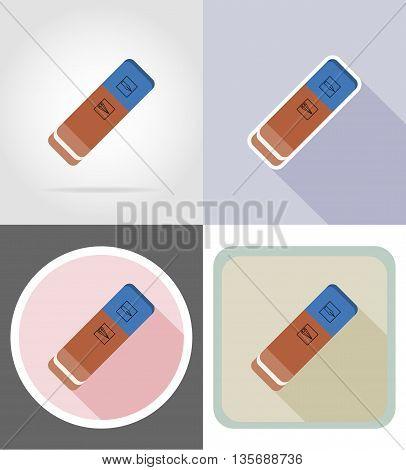 eraser gumstationery equipment set flat icons vector illustration isolated on white background