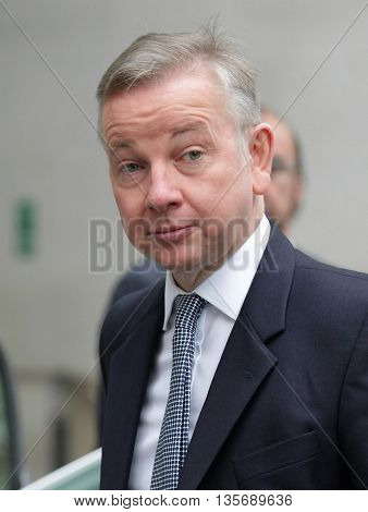 LONDON, UK - SEPTEMBER 13, 2015: Michael Gove, Conservative politician seen leaving the BBC Andrew Marr Show, picture taken from the street